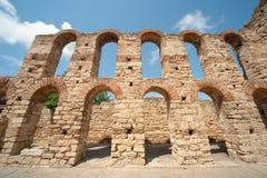 Bulgarien. Vägg av den gamla Nessebaren Arkivfoto