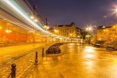 Bulgarien, Varna, die Brücke von Löwen in der Nachtstadt Lizenzfreie Stockbilder