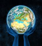 Bulgarije op aarde in handen Stock Foto