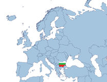 Bulgarije op de kaart van Europa Stock Fotografie