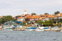 Bulgarije: Vissersboten op oude Nessebar Royalty-vrije Stock Foto's