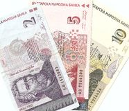 Bulgarische Banknoten - 2, 5, 10 bulgarische Lev. Lizenzfreie Stockbilder