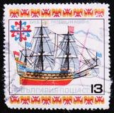 Bulgarische Briefmarke zeigt Galeeren-La Corone, circa 1977 Stockbilder