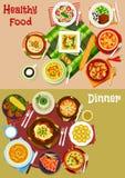 Bulgarisk kokkonst besegrar symbolsuppsättningen för menydesign vektor illustrationer