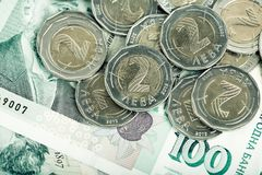 Bulgariska sedlar och mynt bilden tonas Arkivbilder