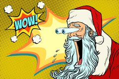 Bulging eyes Hyper reaction to Santa Claus. New year and Christmas. Pop art retro vector illustration Stock Photography
