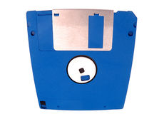 Bulging floppy disk. Closeup of blue floppy disk bulging with data, isolated on white background Royalty Free Stock Images