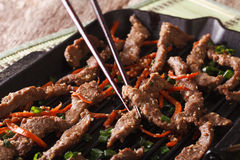 Bulgogi beef with carrot and onion on the grill macro. horizonta Royalty Free Stock Photos