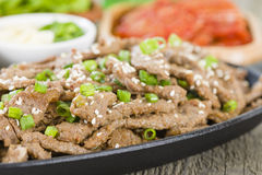 Bulgogi. Korean grilled marinated beef in a sizzle pan Stock Image