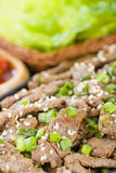 Bulgogi. Korean grilled marinated beef in a sizzle pan Royalty Free Stock Photo