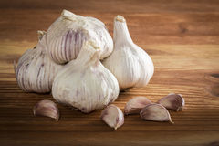 Bulgs of garlic on wooden table Royalty Free Stock Image