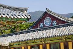 Bulguk-sa buddhist temple, wanzi or manji sign. Buddhist temple of Bulguk-sa. South Korea. Example of Asian religious (buddhist) and Zen architecture and wanzi Stock Photos