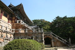 Bulguksa Temple. The most famous buddhist temple in Korea.  It's listed with the world heritage foundation.  The steps are so precious they are national Stock Image