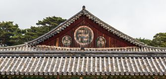 Detail view on roof of korean buddhistic Bulguksa Temple on a clear day. Located in Gyeongju, South Korea, Asia stock photo