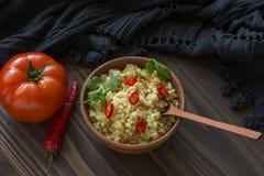 Bulgur avec le poivre et le persil Photo stock