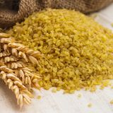 Bulgur in bag Royalty Free Stock Images