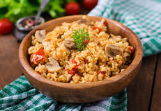 Bulgur with chicken, mushrooms and tomatoes Stock Images