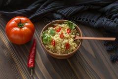 Bulgur com pimenta e salsa Fotografia de Stock