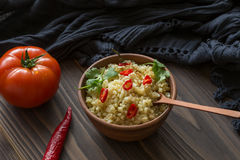 Bulgur com pimenta e salsa Foto de Stock Royalty Free