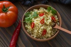 Bulgur com tomate e pimenta Imagem de Stock Royalty Free