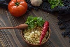 Bulgur con il pomodoro ed il pepe Immagine Stock