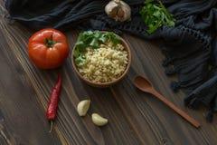 Bulgur con il pomodoro ed il pepe Fotografia Stock Libera da Diritti