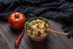 Bulgur con il pomodoro ed il pepe Immagini Stock