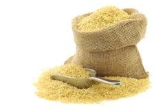 Bulgur (couscous) in a burlap bag Royalty Free Stock Photography