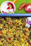 Bulgur cozido com vegetais perto acima Foto de Stock Royalty Free