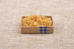 Bulgur on linen. Colorful and crisp image of bulgur on linen Royalty Free Stock Image