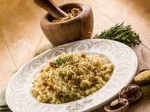 Bulgur with nuts and herbs Royalty Free Stock Images