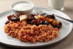 Bulgur pilaf and Greek yogurt Royalty Free Stock Photos