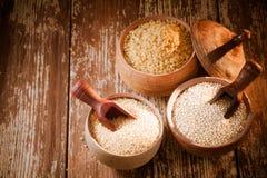 Bulgur, quinoa and couscous Royalty Free Stock Images