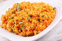 Bulgur salad with tomato paste, parsley and onion Royalty Free Stock Photos