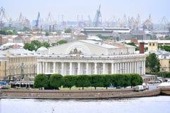 Buliding of  Saint-Petersburg Stock Exchange  at Vasilyevsky Island- view from height Stock Image