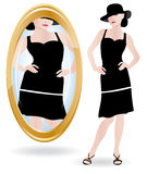 Bulimia or anorexia illustration. Young woman looking at her in the mirror. Bulimia or anorexia illustration Royalty Free Stock Photography