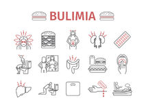 Bulimia. Symptoms, Treatment. Line icons set. Vector signs Stock Photos