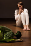 Bulimic girl with nausea Royalty Free Stock Photography