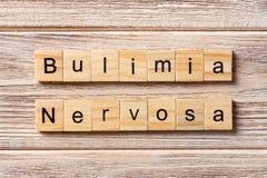 BULIMIE Nervosa-Wort geschrieben auf hölzernen Block BULIMIE Nervosa-Text Lizenzfreie Stockbilder