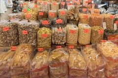 Bulk Shop. Bulk Bags With Natural Ingredients in Traditional Chinese Shop stock photography