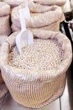 Bulk bean. Bag on sale in shop stock images