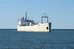 Bulk Cargo Ship. A ship carrying powdered cement enters the harbor at the port of Cleveland, Ohio on Lake Erie stock photo