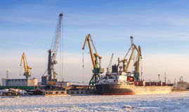 Bulk cargo ship loading with cranes Stock Photography
