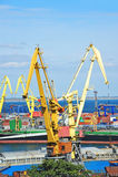 Bulk cargo ship and train under port crane Stock Photography