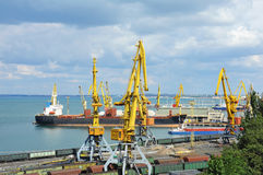 Bulk cargo ship and train under port crane Royalty Free Stock Image