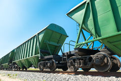 Bulk carriages perspective. Perspective of the bulk carriages over the blue sky background stock image