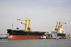 Bulk carrier. Unloading in the Port of Rotterdam stock photo