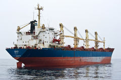 Bulk carrier Angara on the roads. Nakhodka Bay. East (Japan) Sea. 09.04.2014 Stock Photography