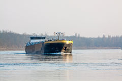 Bulk-carrier barge on waterway river Rhine Stock Images