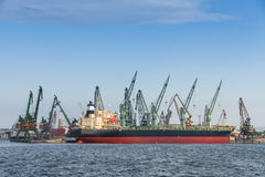 Bulk carrier, big cargo ship stands moored in port Royalty Free Stock Photo